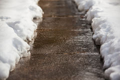 Shoveled sidewalk after snow Stock Photography