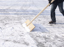 Shoveling snow. With wooden shovel from ice for speed ice skating with wooden shovel Royalty Free Stock Images