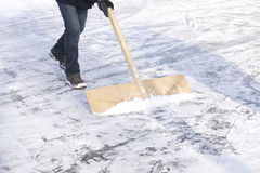 Shoveling snow. With wooden shovel from ice for speed ice skating with wooden shovel Stock Images