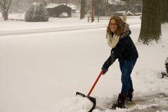 Shoveling Snow Happy Royalty Free Stock Photo