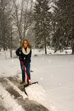 Shoveling Snow Like a Plow Stock Photos
