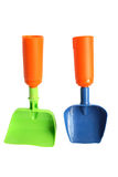 Shovels. Two baby shovels with plastic Royalty Free Stock Photography