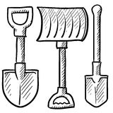 Shovels assortment vector. Doodle style shovel sketch in vector format. Set includes spade, snow shovel, and entrenching tool Royalty Free Stock Photography