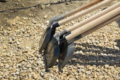 Shovels construction site Royalty Free Stock Photo
