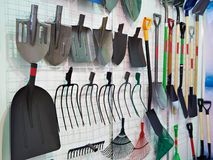 Shovels and forks in store Royalty Free Stock Photography