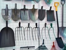 Shovels and forks in store Royalty Free Stock Photo