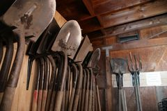 Shovels garden shed Royalty Free Stock Photography
