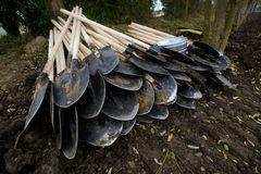 Shovels on the ground Royalty Free Stock Photos