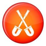 Shovels icon, flat style Stock Photography