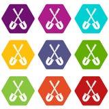 Shovels icon set color hexahedron Stock Image
