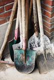 The shovels. Lean the shovel against the wall Royalty Free Stock Photo
