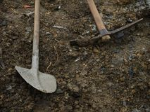 Shovels in the sand Stock Photography