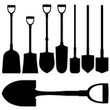 Shovels, spades, and digging tools in