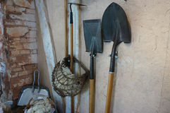 Shovels, spades and other garden tools Stock Photo