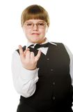 For show. Young businessman giving gesture. Focus on fingers Royalty Free Stock Images