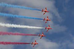 Show aereo rosso delle frecce di Royal Air Force Fotografia Stock