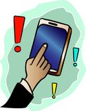 Show the answer with your finger on the mobile phone in the application. Vector icon stock illustration