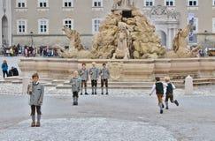 Show of aperschnalzen on Kapitelplatz in Salzburg Stock Photos