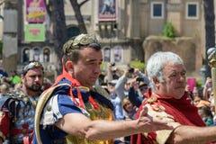 Show av forntida Romans i födelsedagen av det Rome tillfället royaltyfri foto