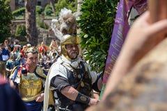 Show av forntida Romans i födelsedagen av det Rome tillfället royaltyfri bild