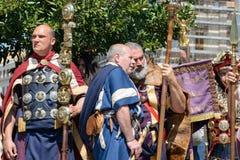 Show av forntida Romans i födelsedagen av det Rome tillfället royaltyfri fotografi