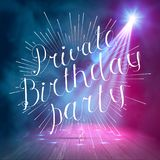 Show background. The Best Summer night Brush Script Style Hand lettering. Smoky vector stage interior shining with light from a pr Royalty Free Stock Photos