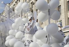 Show with balloons, city Day in Moscow. royalty free stock photography