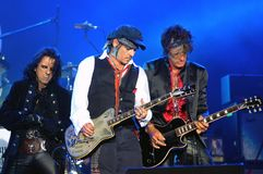 Hollywood Vampires. Show of the band Hollywood Vampires during the Rock in Rio 2107 Alice Cooper,Joe Perry e Johnny Depp Stock Photos