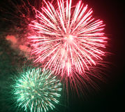 show with big colorful fireworks in the dark night Royalty Free Stock Photography