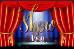 Show, bright lighting spotlight effect with realistic red curtain. Scene illumination show, bright lighting spotlight effect with realistic red curtain, stage in royalty free illustration