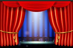 Show, bright lighting spotlight effect with realistic red curtain. Scene illumination show, bright lighting spotlight effect with realistic red curtain, stage in vector illustration