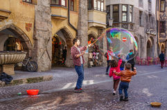 Show bubbles in square in Innsbruck. Austria Stock Images