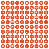 100 show business icons hexagon orange. 100 show business icons set in orange hexagon isolated vector illustration royalty free illustration
