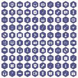 100 show business icons hexagon purple. 100 show business icons set in purple hexagon isolated vector illustration Stock Photography