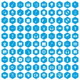 100 show business icons set blue. 100 show business icons set in blue hexagon isolated vector illustration Stock Photos