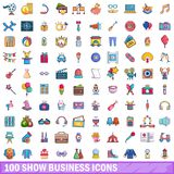 100 show business icons set, cartoon style. 100 show business icons set. Cartoon illustration of 100 show business vector icons isolated on white background Stock Image