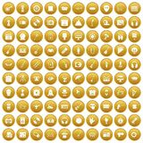 100 show business icons set gold. 100 show business icons set in gold circle isolated on white vector illustration Stock Photos