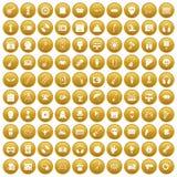 100 show business icons set gold Stock Photos