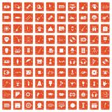 100 show business icons set grunge orange. 100 show business icons set in grunge style orange color isolated on white background vector illustration vector illustration