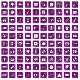 100 show business icons set grunge purple. 100 show business icons set in grunge style purple color isolated on white background vector illustration Vector Illustration