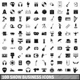 100 show business icons set, simple style Stock Photo