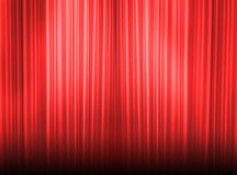 The show can start. Red curtain of a classical theater Stock Photography