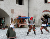 Show at the Castle Werfen Stock Photos