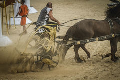 Show, chariot race in a Roman circus, gladiators and slaves figh Stock Photos