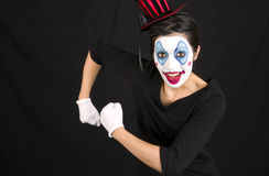 Show Clown Female Portrait Animated Pose Royalty Free Stock Image