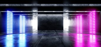 Show Club Led Laser Neon Lights Grunge Concrete Modern Empty Space Garage Underground Tunnel Gallery White Purple Blue Cinematic. Glowing Shadows Dark And royalty free illustration
