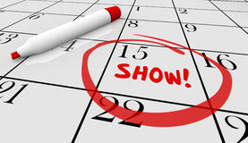 Show Concert Event Performance Calendar Day Date Royalty Free Stock Image