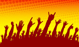 Show crowd silhouette. On the yellow and red background Vector Illustration