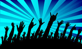Show crowd silhouette. On the blue background Royalty Free Stock Photos