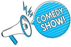 Show för komedi för ordhandstiltext Affärsidé för humoristiskt underhållande medel för roligt program av underhållningmegafonhögt royaltyfri illustrationer